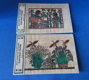 Museum Replicas - 2 Egyptian Scenes on Papyrus - Birds & Egyptians -