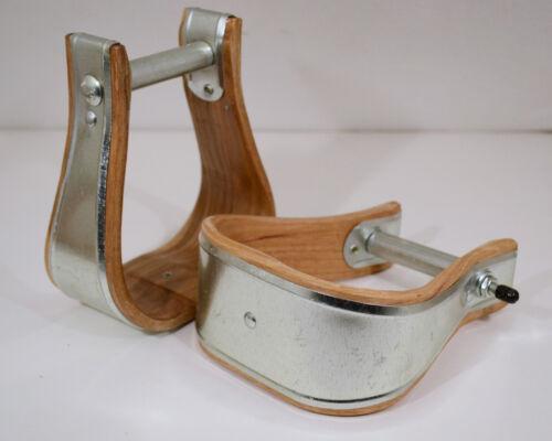 "SELLE WESTERN étrier-découvert 3/"" Bell Bottom-Wood /& Metal E324"