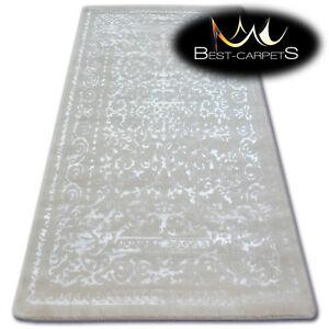 Tres-Doux-Laine-amp-acrylique-Tapis-blanc-034-manyas-034-epais-amp-densement-tisse