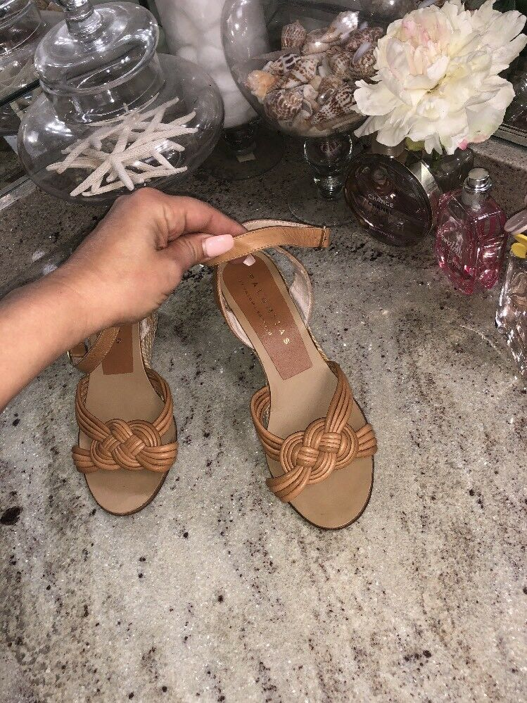 Palomitas by Paloma Barcelo Nude Tan Ankle Strap Wedges Sandals shoes size 38