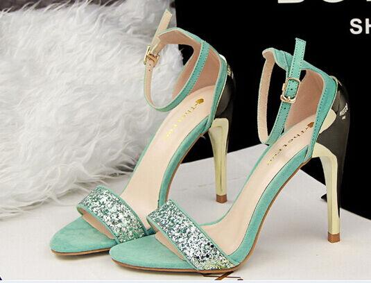 Elegante sandalo stiletto tacco 10 cm moda  colore azzurro 8666