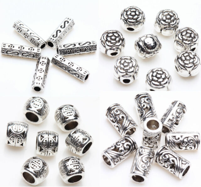 100Pcs Flower Metal Spacer Beads Silver Plated Loose Bracelet Bead Jewelry Charm