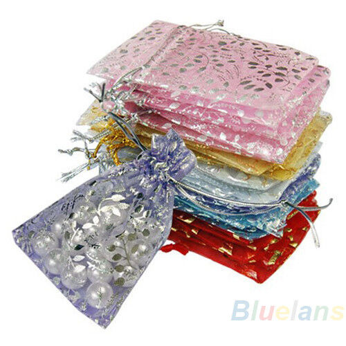 Chic 25pcs Jewelry Wedding Gift Mix Color Organza Pouch Bags 7x7cm 3X3 Inch BE3U