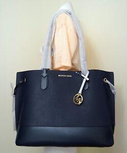 821756c7f122eb Image is loading Michael-Kors-Trista-Large-Drawstring-Leather-Tote-Bag-