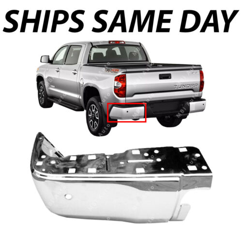 NEW Chrome Steel Drivers LH Rear Bumper End for 2014-2018 Toyota Tundra W// Park