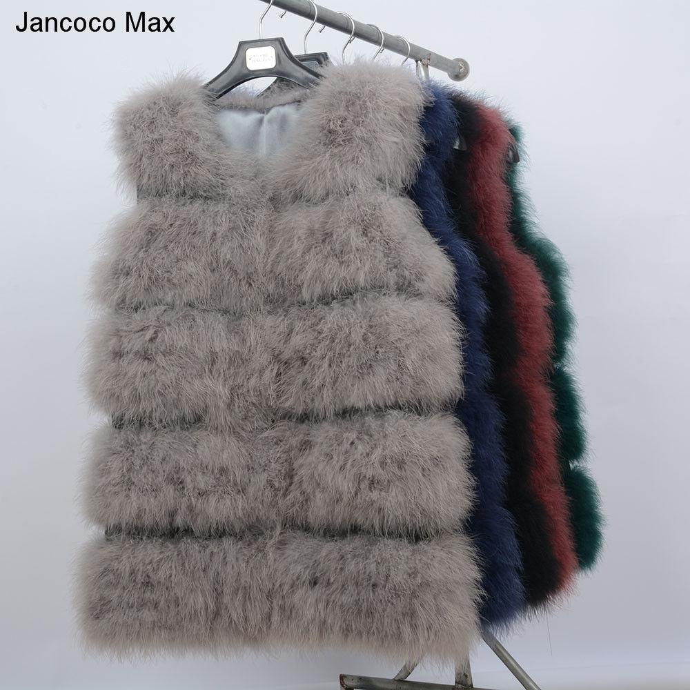 New Echte Straußenfedern Pelz Warm Weste Mode Mantel 61901
