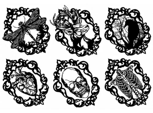 """6 pcs  3/"""" Gothic Cameo Raven 5/""""X7/"""" Card Black Fused Glass Decals 18CC1136"""