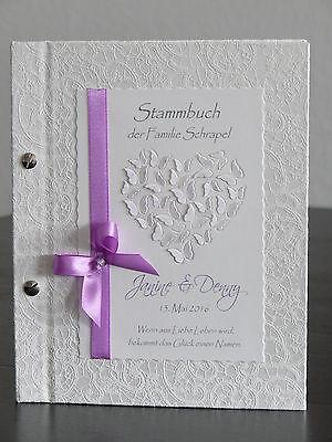 """Stammbuch zum Gästebuch Hochzeit """"Schmetterlingsherz"""" lila Deko"""