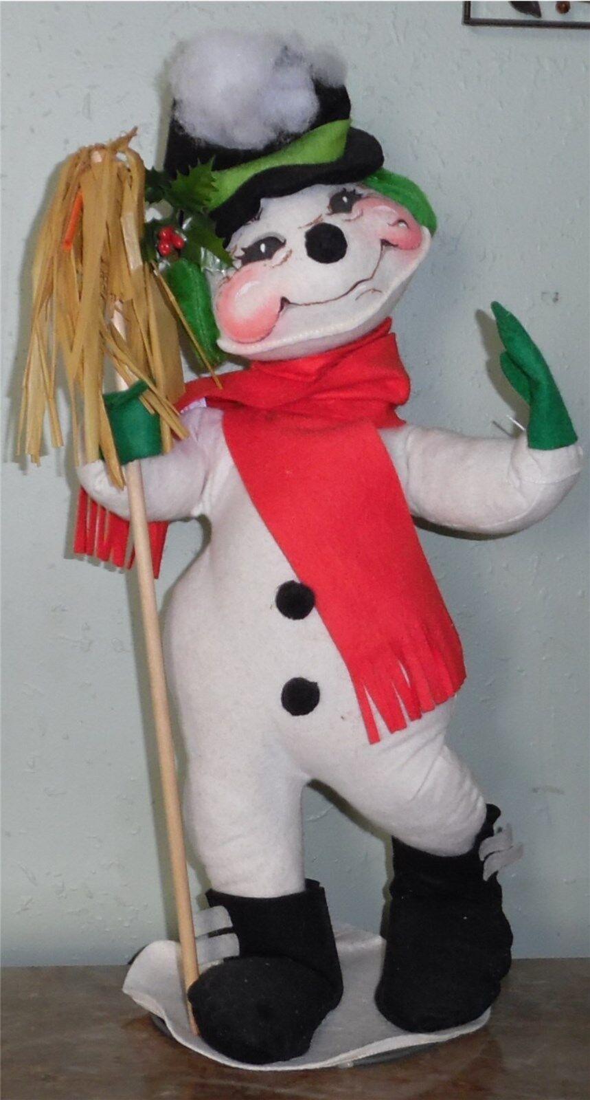 Large Vintage Annalee 1971 Vintage 20  Frosty Snowman Mobilitee On Stand Broom