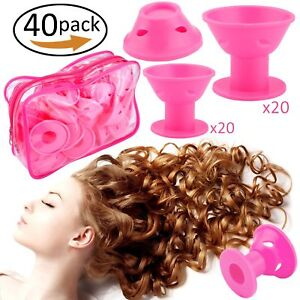 40PC-Silicone-Hair-Rollers-Hair-Curlers-No-Heat-Magic-Spiral-Clip-Tool-Pink-Bag