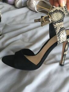Straps Heels With Coast Skin Size Black 4 Suede Used Snake Effect Hardly FZS1zZ