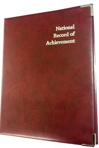 NATIONAL-RECORD-OF-ACHIEVEMENT-PVC-A4FOLDER-IN-BURGUNDY-LEATHER-LOOK-WITH-SILVER