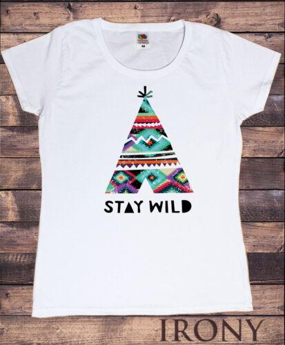 Womens T-Shirt Native Indian Teepee Motif Stay wild Aztec Novelty Print TS382