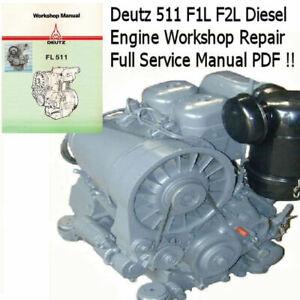 Deutz 511 F1l F2l Service Manual Workshop Engine Motor Repair Pdf Cd Ebay