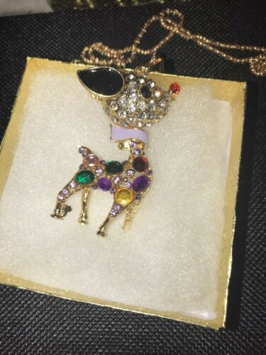 Betsey Johnson Necklace RUDOLPH The RED Nosed REINDEER Gold Crystals GIFT BOX