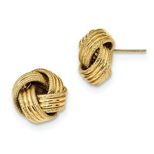 Real 14kt Yellow Gold Textured Post Earrings