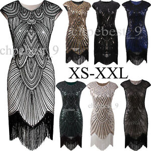 1920s Dress Flapper Costume Vintage Gatsby Evening Gown Fringe ...