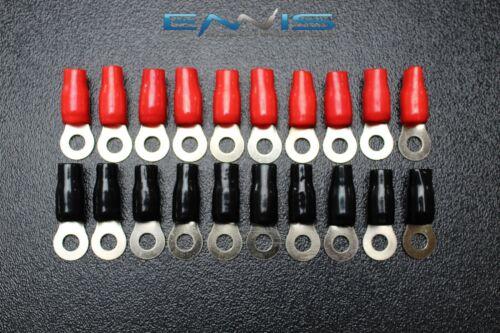 20 PCS 2 GAUGE RING TERMINALS 5//16 HOLE POWER RED BLACK CONNECTOR IB2GNRT
