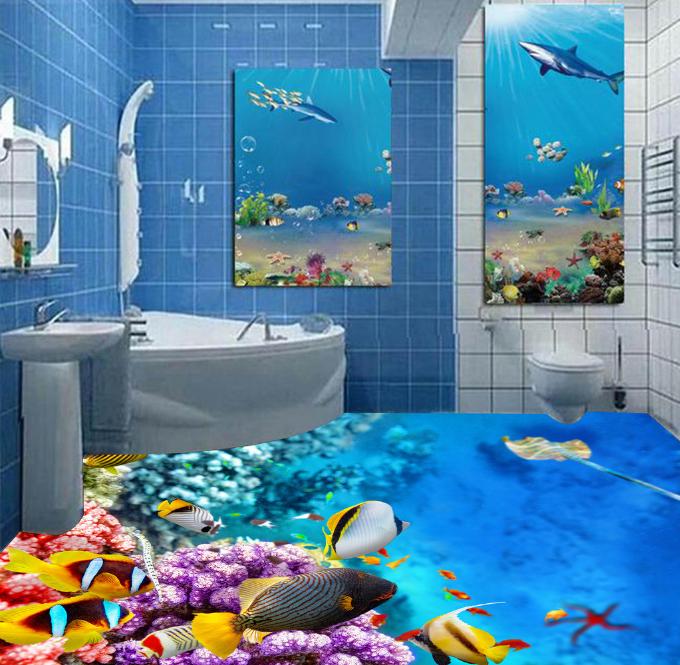 3D Beautiful Fish Sea 5 Floor WallPaper Murals Wall Print Decal AJ WALLPAPER