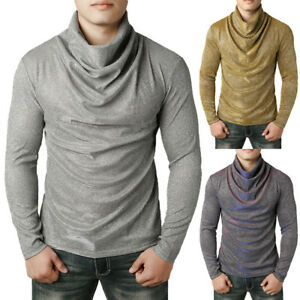 New-Men-039-s-Long-Sleeve-Cotton-High-Collar-Skivvy-Turtle-Neck-Sweater-Winter