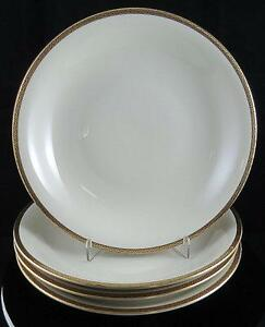 "EDELSTEIN BAVARIA GEOMETRIC BLACK AND GOLD TRIM 4 PIECE 9"" COUPE SOUP BOWLS"