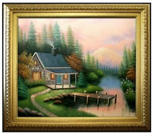 Framed-Quality-Hand-Painted-Oil-Painting-A-Quiet-Evening-20x24in