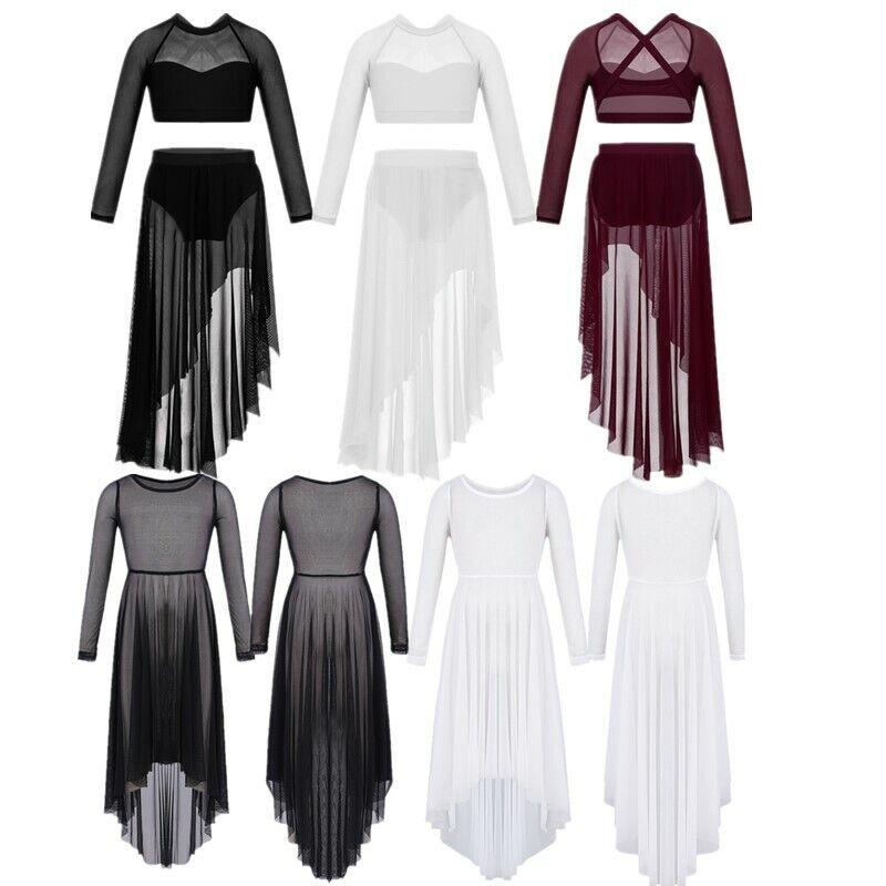 Girls Long Sleeve Praise Dance Maxi Celebration Lyrical Ballet Leotard Dancewear