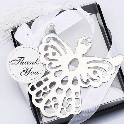 Stainless Steel Silver Guardian ANGEL Bookmark Tassel Page Marker Ribbon BoxAUTA