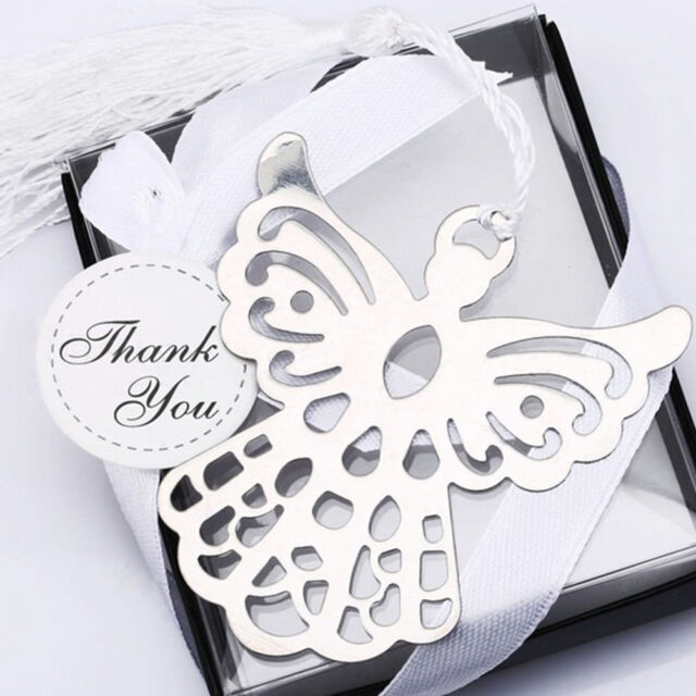 Stainless Steel Silver Guardian ANGEL Bookmark Tassel Page Marker Ribbon Box FT