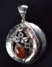 NEW!! White Topaz Mexican Fire Opal Mokume Gane Pendant Sterling Silver .925