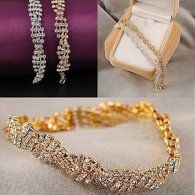 New Fashion Womens Gold Silver Plated Clear Crystal Chain Bracelet Charm Jewelry