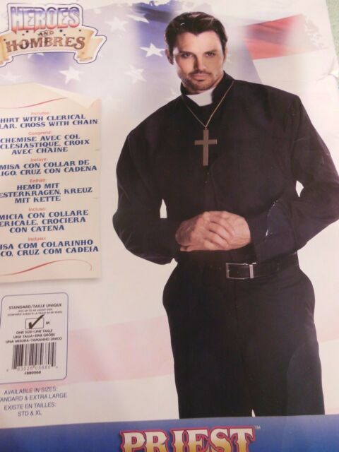 Rubie's Costume Heroes And Hombres Adult Priest Shirt, Black, Standard  Size M