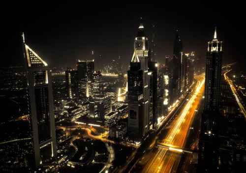 12993 -Stadt Emiraten VAE Skyline Mer Strand Nacht Hafen VLIES Fototapete-DUBAI-