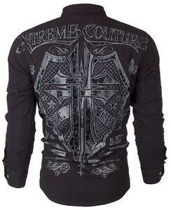 XTREME-COUTURE-by-AFFLICTION-Mens-L-S-BUTTON-DOWN-Shirt-RATTLE-Shield-UFC-78