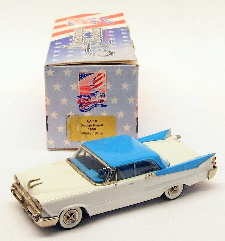 American Classics échelle 1 43 voiture modèle AA19 - 1959 Dodge Royal-Blanc Bleu