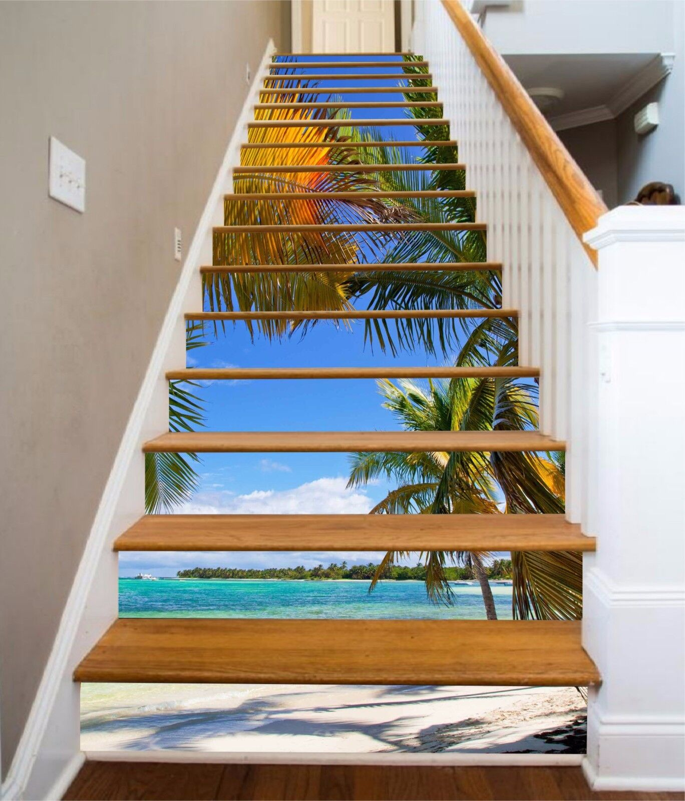 3D Beach View View View 232 Stairs Risers Decoration Photo Mural Vinyl Decal Wallpaper US 3a2a31