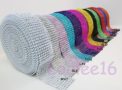 "1.5"" Diamond Rhinestone Crystal Mesh Ribbon Wrap 1 yd 5 yd 10 yard decoration"