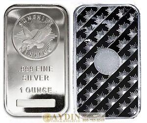 1 Troy Ounce Sunshine Minting Silver Bar 1 Oz 999 Fine