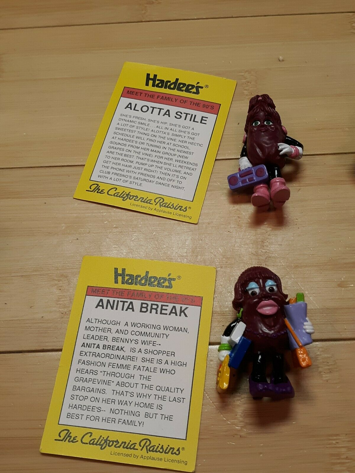 California California California Raisins Figures Trading Cards 90's Hardee's Promo Toys Complete Set 35d42a