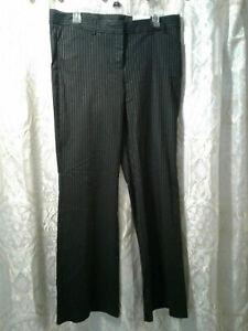 NEW Express Editor Stretch Black Pinstripe Pants Womens 12 NWT DadCloset*