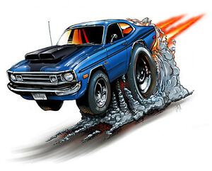 1972 Dodge Demon Muscle Car Cartoon Auto T Shirt 9254 Automotive