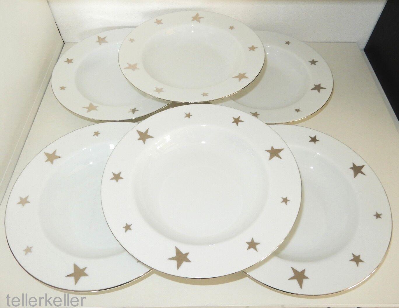 Ikea 6 x Suppenteller Ø 23,5   H 3,7 Sterne Silber Weihnachten tiefe Teller tief | Erste Kunden Eine Vollständige Palette Von Spezifikationen