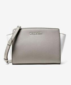 e4fdb0fd4e55 Michael Kors NWT $228 Selma Md Messenger Pearl Grey Saffiano Leather ...