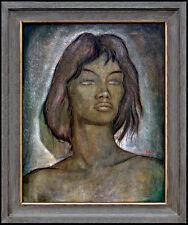 Angel Botello Original Painting Oil on Board Olga Female Portrait Signed Artwork