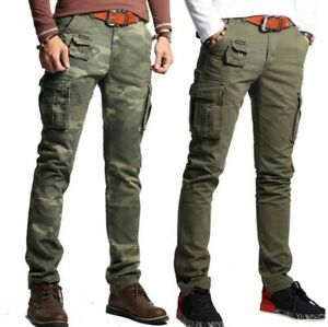 7accf4e5fd Men Work Pants Cotton Slim Fit Pocket Skinny Casual Cargo Military ...