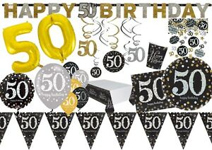 50th-GOLD-Celebration-Birthday-Party-Balloons-Tableware-Decorations-Supplies