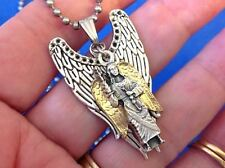 CUSTOM ARCHANGEL St MICHAEL Saint Medal NECKLACE Pendant Gold Plate Angel Wings