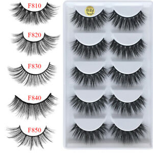45886fc0074 5Pairs 100% Real Mink 3D Volume Thick Daily False Eyelashes Strip ...