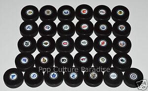 HOCKEY-PUCKS-ALL-31-NHL-TEAMS-Small-Logo-Set-InGlasCo-Full-Sized-Puck-Set-VEGAS