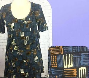 Perfect Nwt Xxs Lularoe Black Top T Shirt Blue Geometric Size Women's Brown Or8xqaOCw